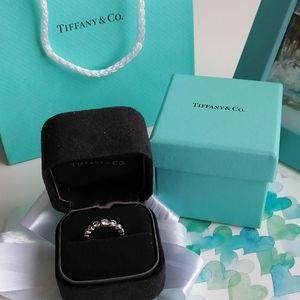 Authentic Tiffany 7 Diamond Platinum Jazz Ring XXS